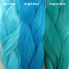 Color comparison from left to right: Light Blue, Bright Blue, Tropical Blue