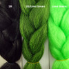 Color comparison from left to right: 1B Off Black, 1B Off Black/Lime Green Mix, Lime Green