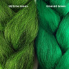 Color comparison from left to right: 1B Off Black/Lime Green Mix, Emerald Green