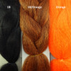 Color comparison from left to right: 1B Off Black, 1B Off Black/Orange Mix, Orange