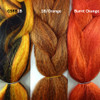 Color comparison from left to right: 1B/R6 Dark Autumn Mix, 1B Off Black/Orange Mix, Burnt Orange
