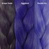 Color comparison from left to right: Grape Soda, Eggplant, Purple Iris