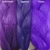 Color comparison from left to right: Dark Purple, Eggplant, Purple