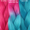 Color comparison from left to right: Berry Pink, Berry Pink with Lagoon Blue Tips, Lagoon Blue