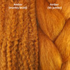 Color comparison from left to right: Amber marley braid, Amber kk jumbo braid