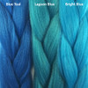 Color comparison from left to right: Blue Teal, Lagoon Blue, Bright Blue