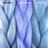 Color comparison from left to right: Polar Blue, Sea Lavender, Blue Silk
