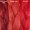 Color comparison from left to right: Dark Cherry Red, Pomegranate, Crimson