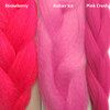 Color comparison from left to right: Strawberry, Italian Ice, Pink Crush