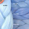 Color comparison: Icy Blue on the left and Blue Silk, Polar Blue, and Maya Blue on the right