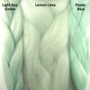 Color comparison from left to right: Light Sea Green, Lemon Lime, Pastel Blue