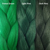 Color comparison from left to right: Forest Green, Light Pine, Dark Pine