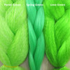Color comparison from left to right: Pastel Green, Spring Green, Lime Green