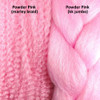 Color comparison from left to right: Powder Pink marley braid, Powder Pink kk jumbo braid