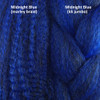 Color comparison from left to right: Midnight Blue marley braid, Midnight Blue kk jumbo braid