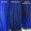 Color comparison from left to right: Navy Blue, Midnight Blue, 1B Off Black with Navy Blue Tips