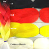 Color comparison: Fire on the left, and 1B Off Black, Red, Yellow, and Platinum Blonde on the right