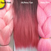 Color comparison from left to right: Pastel Pink, 1B Off Black with Rosy Tips, Baby Pink