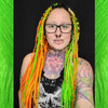 Amber Sunset wearing Grass Green, Hyacinth, Lime Green, Neon Orange, and White Cotton Candy