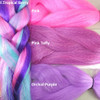 Color comparison: F.Tropical Berry on the left and Pink, Pink Taffy, and Orchid Purple on the right