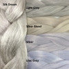 Color comparison: Silk Dream on the left and Light Grey, Silver Blond, Silver, and Lilac Grey on the right