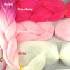 Color comparison: Azalea on the left and Strawberry, Pastel Pink, and White on the right