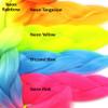 Color comparison: Neon Rainbow on the left and Neon Tangerine, Neon Yellow, Blizzard Blue, and Neon Pink on the right