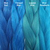 Color comparison from left to right: Blue Teal, Tranquil Blue, Lagoon Blue, Blue Raspberry