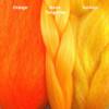 Color comparison from left to right: Orange, Neon Tangerine, Sunkiss