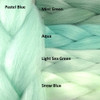 Color comparison: Pastel Blue on the left and Mint Green, Aqua, Light Sea Green, and Snow Blue on the right