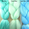 Color comparison from left to right: Sky Blue, Pastel Blue, Light Blue - Soft