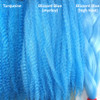 Color comparison from left to right: Turquoise, Blizzard Blue marley braid, Blizzard Blue high heat kk