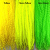 Color comparison from left to right: Yellow, Neon Yellow, Lime Green
