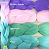 Color comparison: Fairytale on the left and Medium Purple, Powder Pink, Spearmint, and Aqua on the right