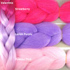 Color comparison: Valentine on the left and Strawberry, Lavish Purple, and Powder PInk on the right
