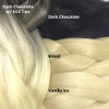 Color comparison: Dark Chocolate with Platinum Blond Tips on the left and Dark Chocolate, Blond, and Vanilla Ice on the right