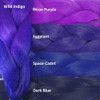 Color comparison: Wild Indigo on the left and Neon Purple, Eggplant, Space Cadet, and Dark Blue on the right