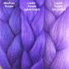 Color comparison from left to right: Medium Purple, Lavish Purple glow braid, Lavish Purple kk jumbo braid