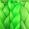 Color comparison from left to right: Lime Green kk jumbo braid, Lime Green RastAfri Glow Braid, Pastel Green