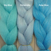 Color comparison from left to right: Sky Blue,  Periwinkle - Blue, Polar Blue