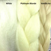 Color comparison from left to right: White, Platinum Blonde, Vanilla Ice