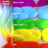 Color comparison: Reverse Rainbow on the left and Neon Violet, Light Blue, Lime Green, Yellow, and Red on the right