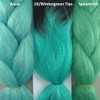 Color comparison from left to right: Aqua, 1B Off Black with Wintergreen Tips, Spearmint