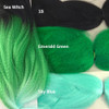 Color comparison: Sea Witch on the left and 1B Off Black, Emerald Green, and Sky Blue on the right