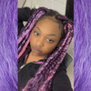Chloe wearing braids in  Grape Crush, M.Tropical Berry, Orchid Purple, and Pink Taffy