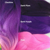 Color comparison: Cheshire on the left and Dark Plum, Dark Purple, and Pink on the right