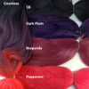 Color comparison: Countess on the left and 1B Off Black, Dark Plum, Burgundy, and Pepperoni on the right