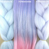 Color comparison from left to right: Periwinkle Blue, 3T/Waterslide, Periwinkle Purple