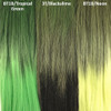 Color comparison from left to right: 1B Off Black with Tropical Green Tips, 3T/Blackslime, 1B Off Black with Neon Tips