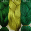 Color comparison from left to right: Jungle Green, Olive Green, 1B Off Black/Emerald Green Mix